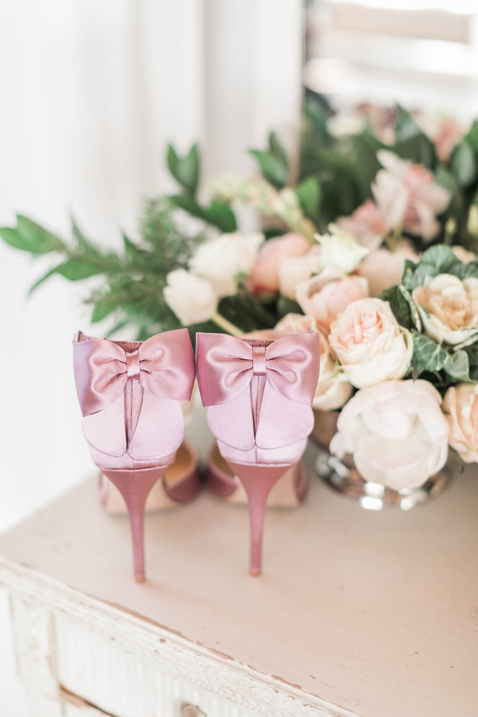 pink bow bridal shoes