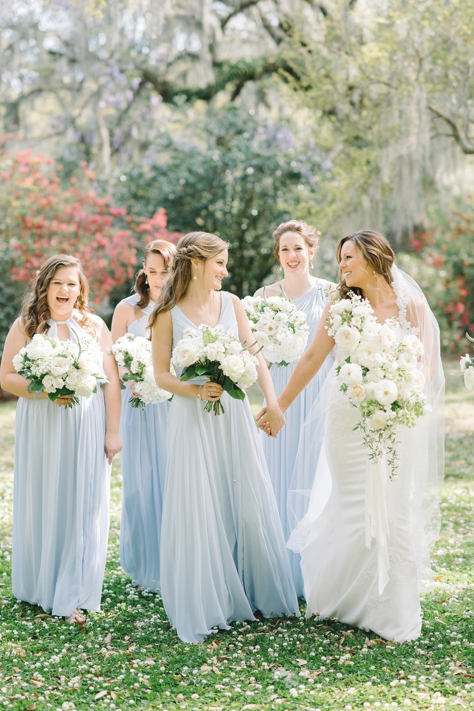 Flowy blue bridesmaid dresses