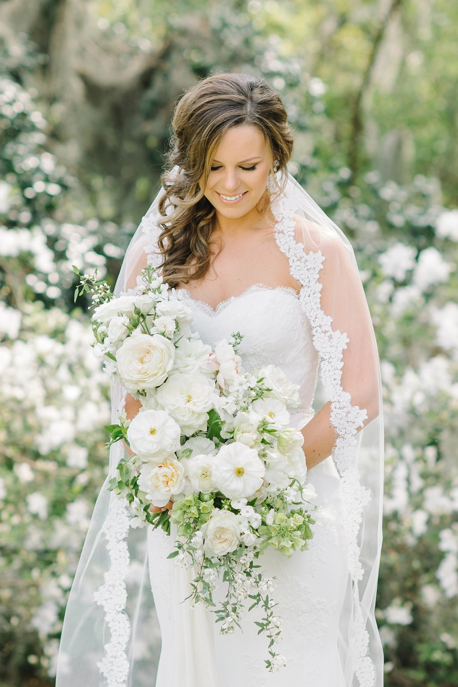 Asymmetrical white wedding bouquet