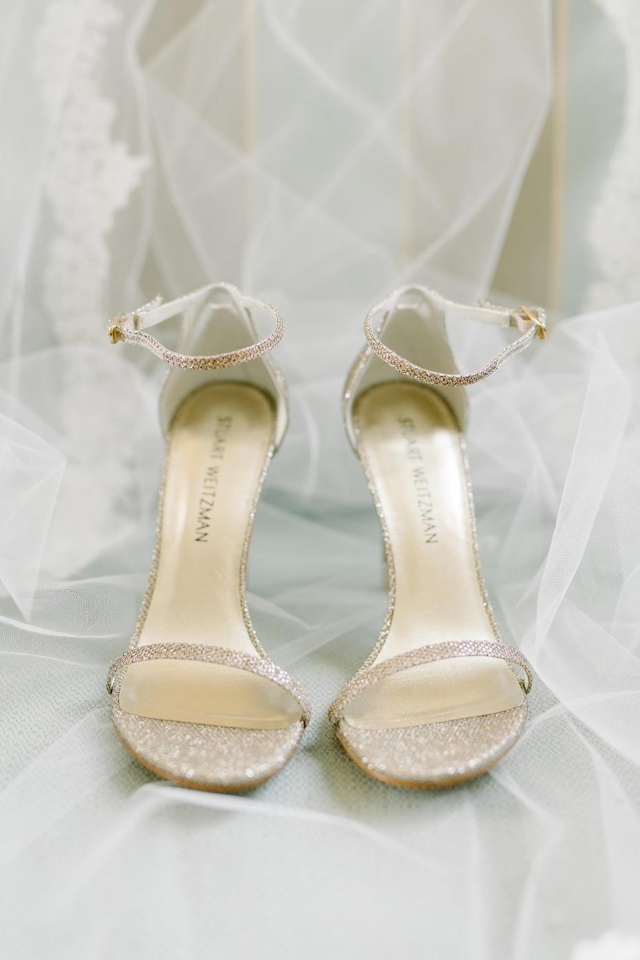 Sparkly gold heels for the bride