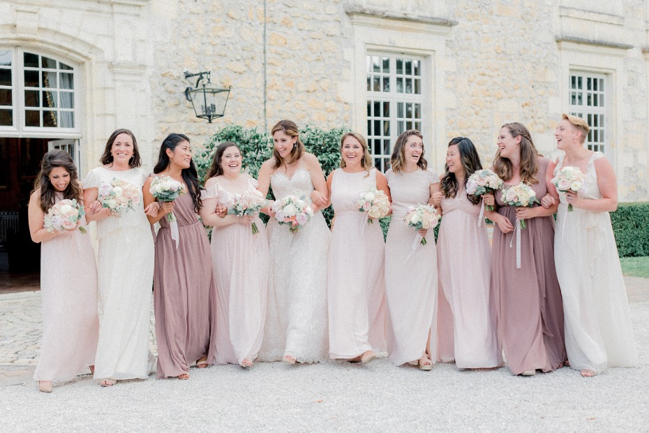Shades of blush bridesmaid dresses