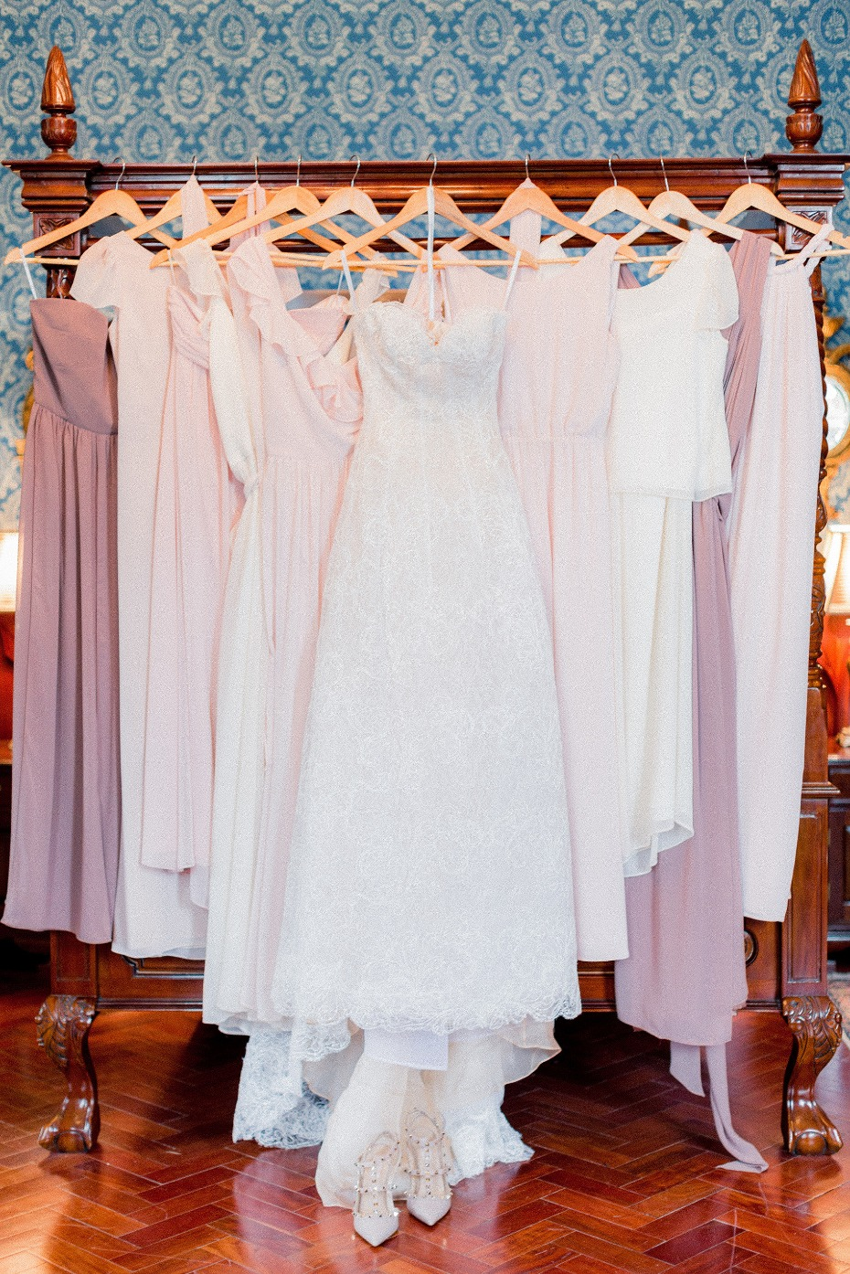 Mix and match blush bridesmaid dresses