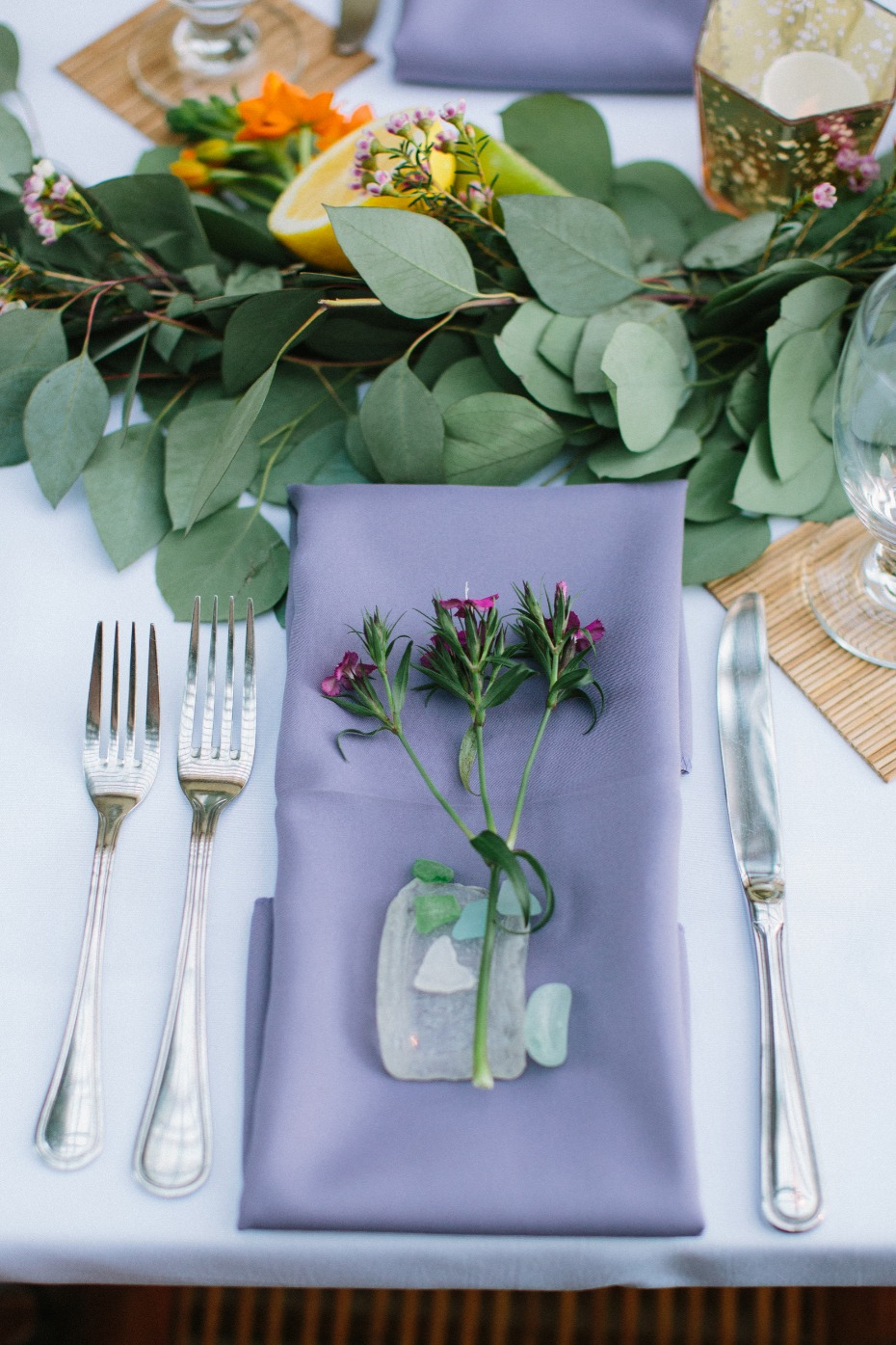 Beach glass place setting