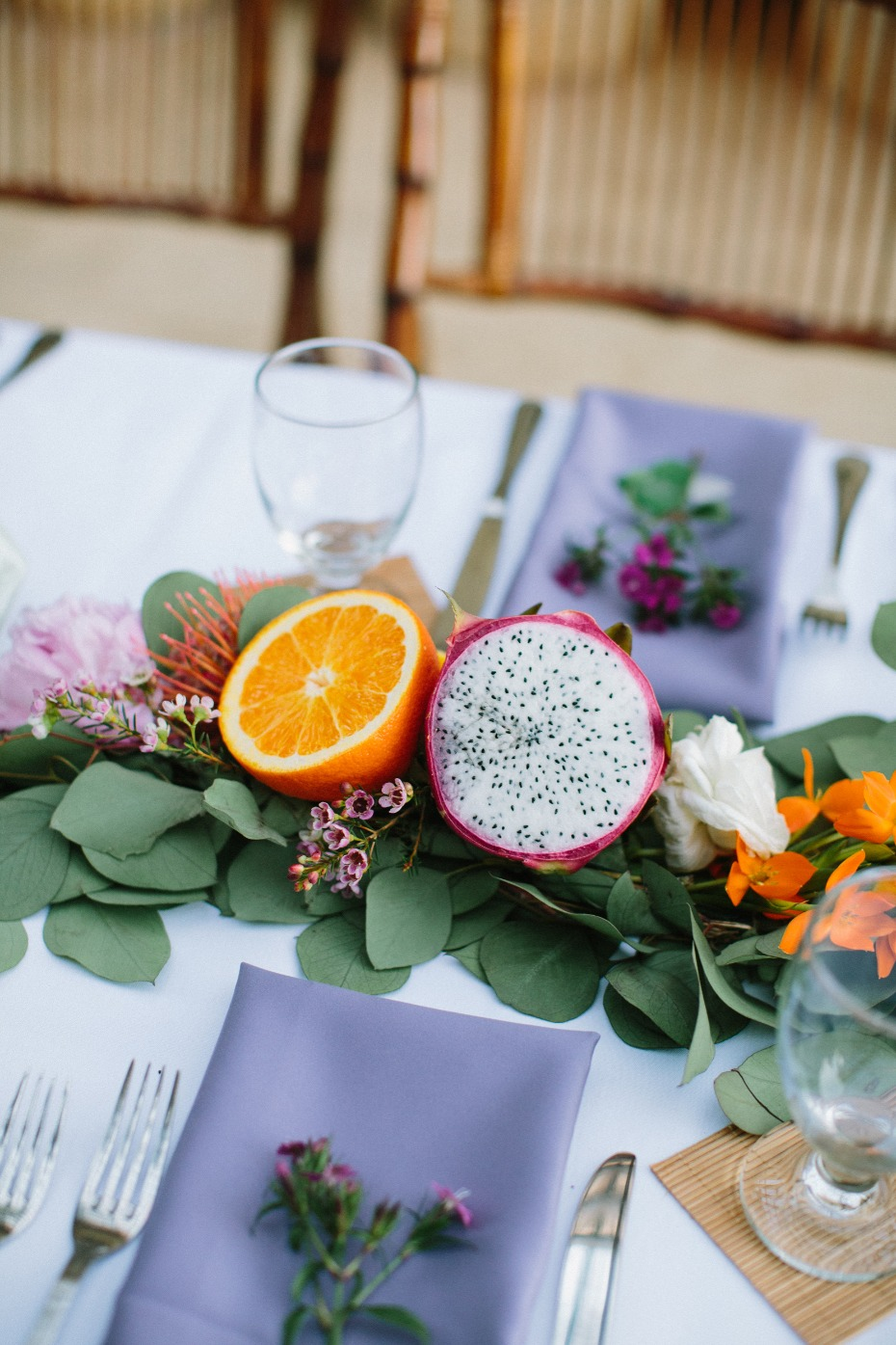 Tropical fruit centerpiece idea