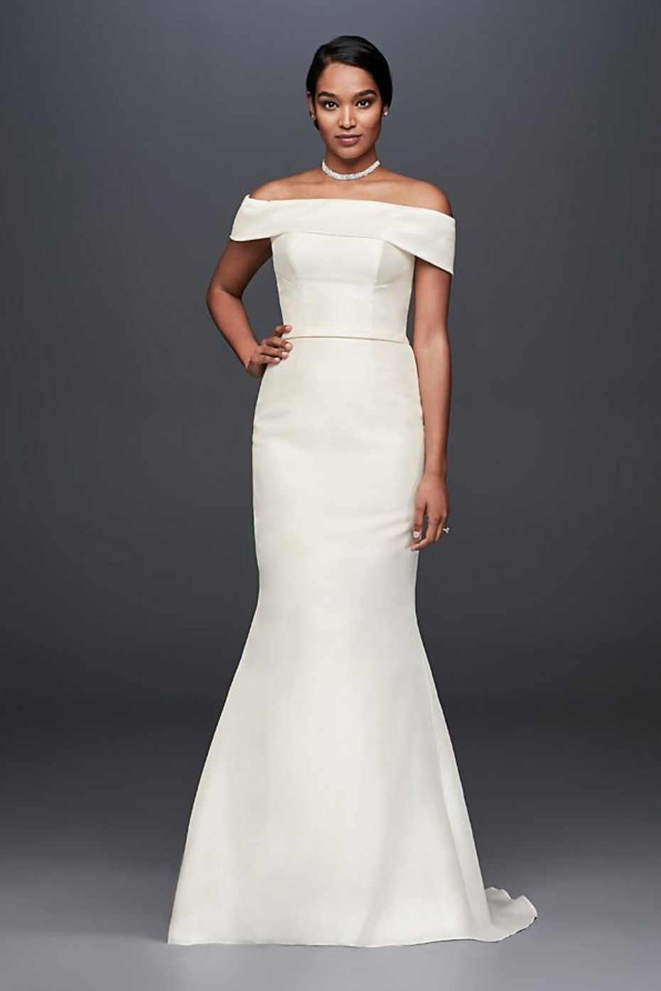 David's Bridal Mikado Off the Shoulder Gown