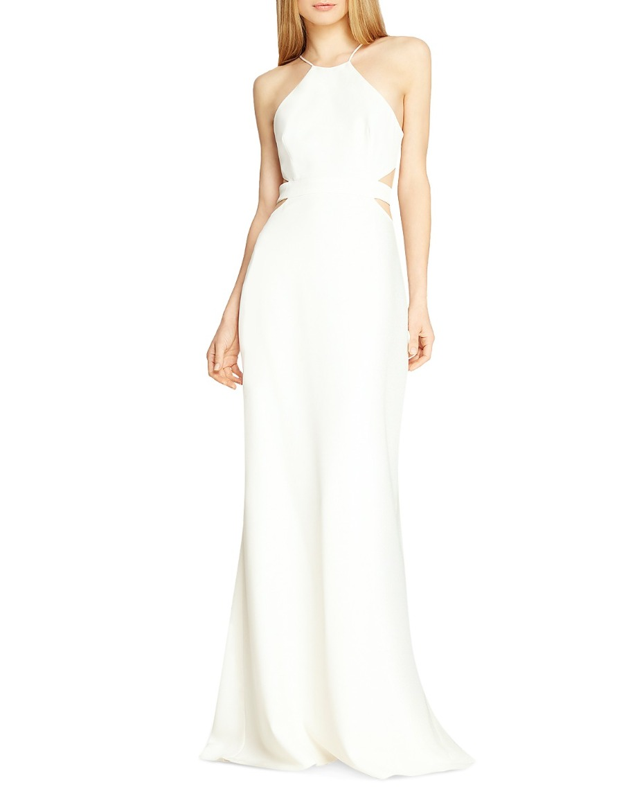 Halston Heritage Halter Gown with Side Cut Outs