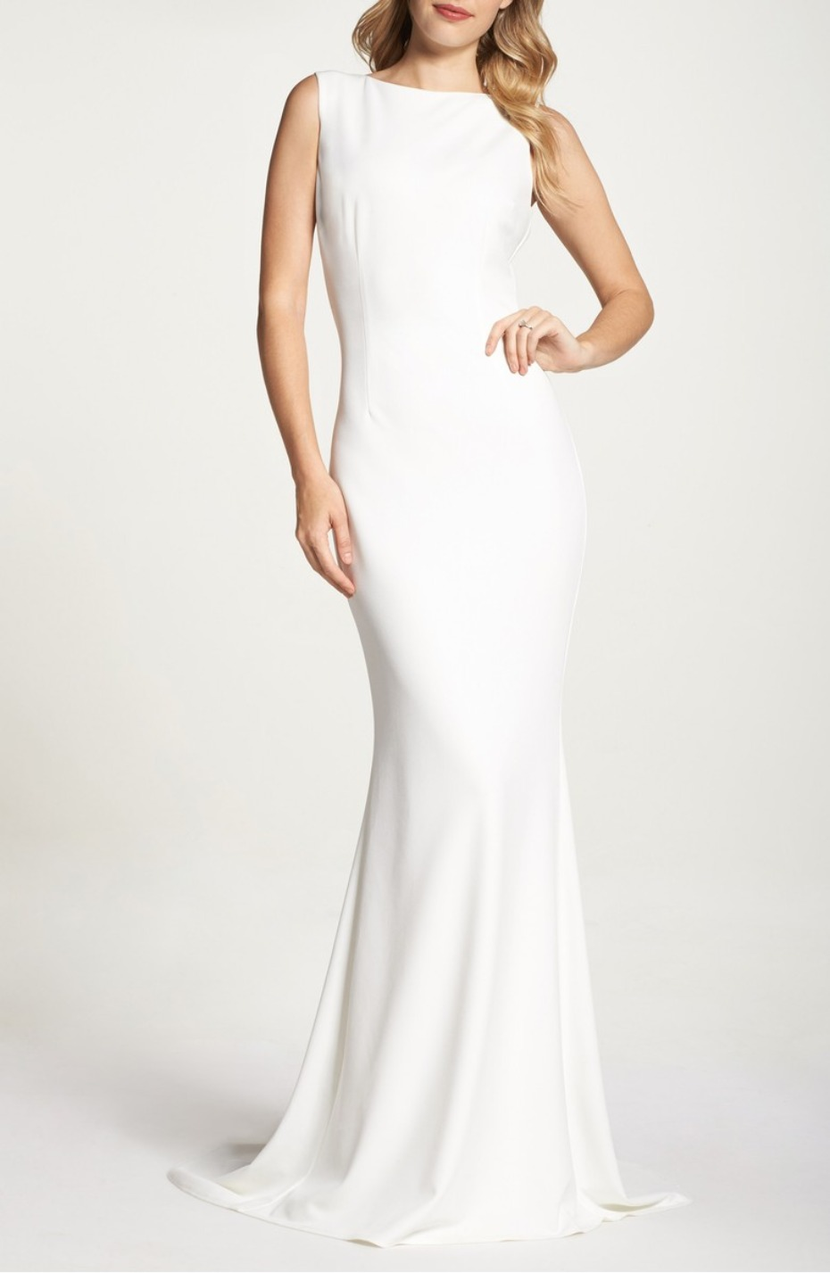 White Crepe Gown Katie May for Nordstrom