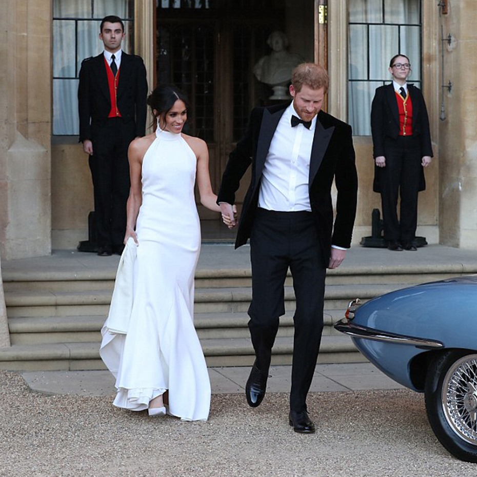 Meghan Markle and Prince Harry Leaving for Frogmore Reception