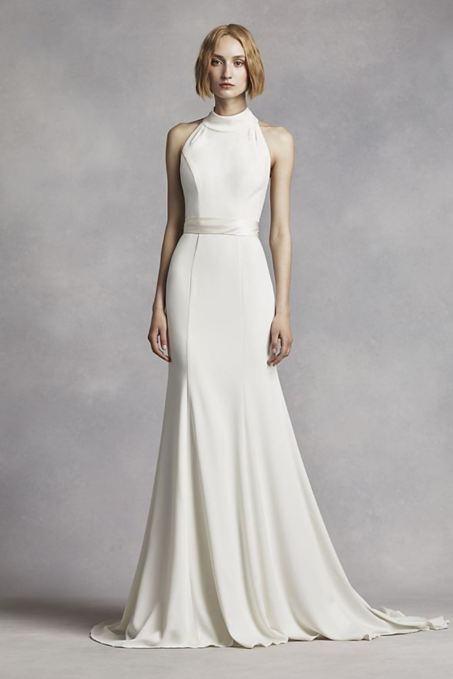 David's Bridal White by Vera Wang High Neck Halter Gown