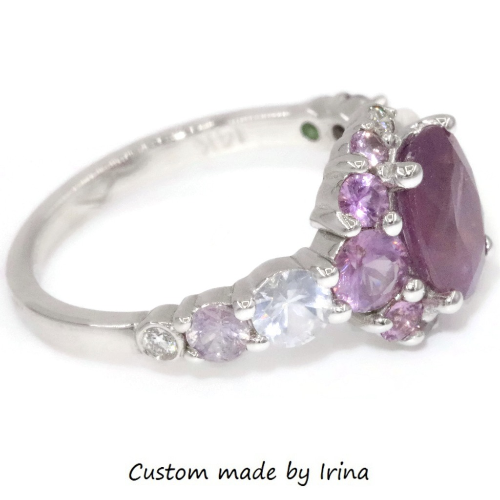 Cluster ring hand-crafted with Natural Colorful Sapphires. Low set comfortable and modern.