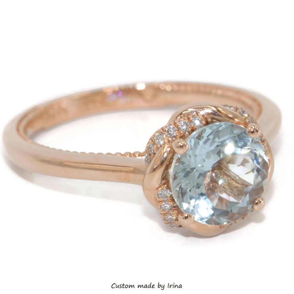 Aquamarine in rose gold. Such a unique combination of colors and shades.