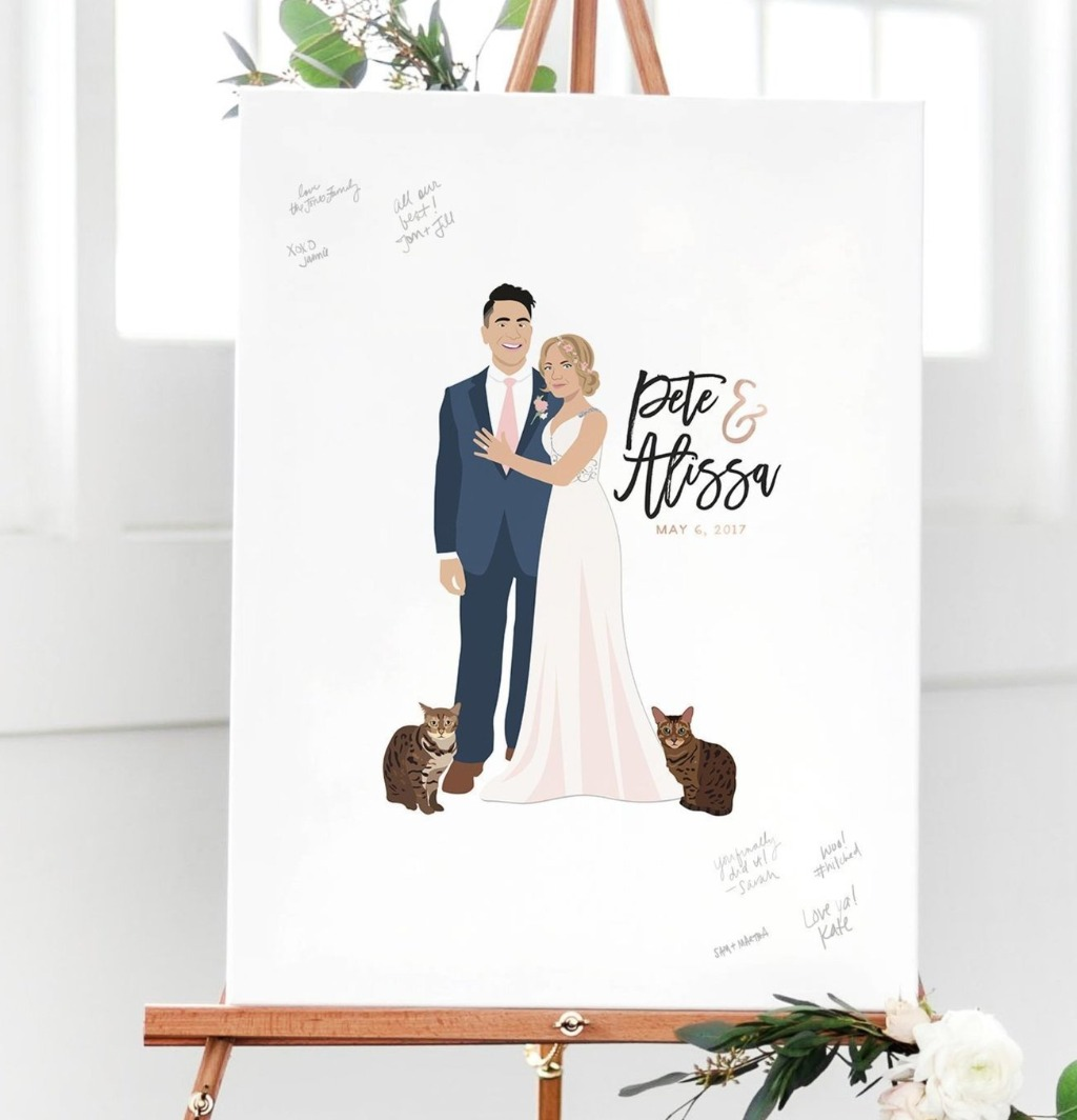 The Penny by Miss Design Berry is definitely a classic!! It features your couple portrait and any pets that you'd like to add on! Consider