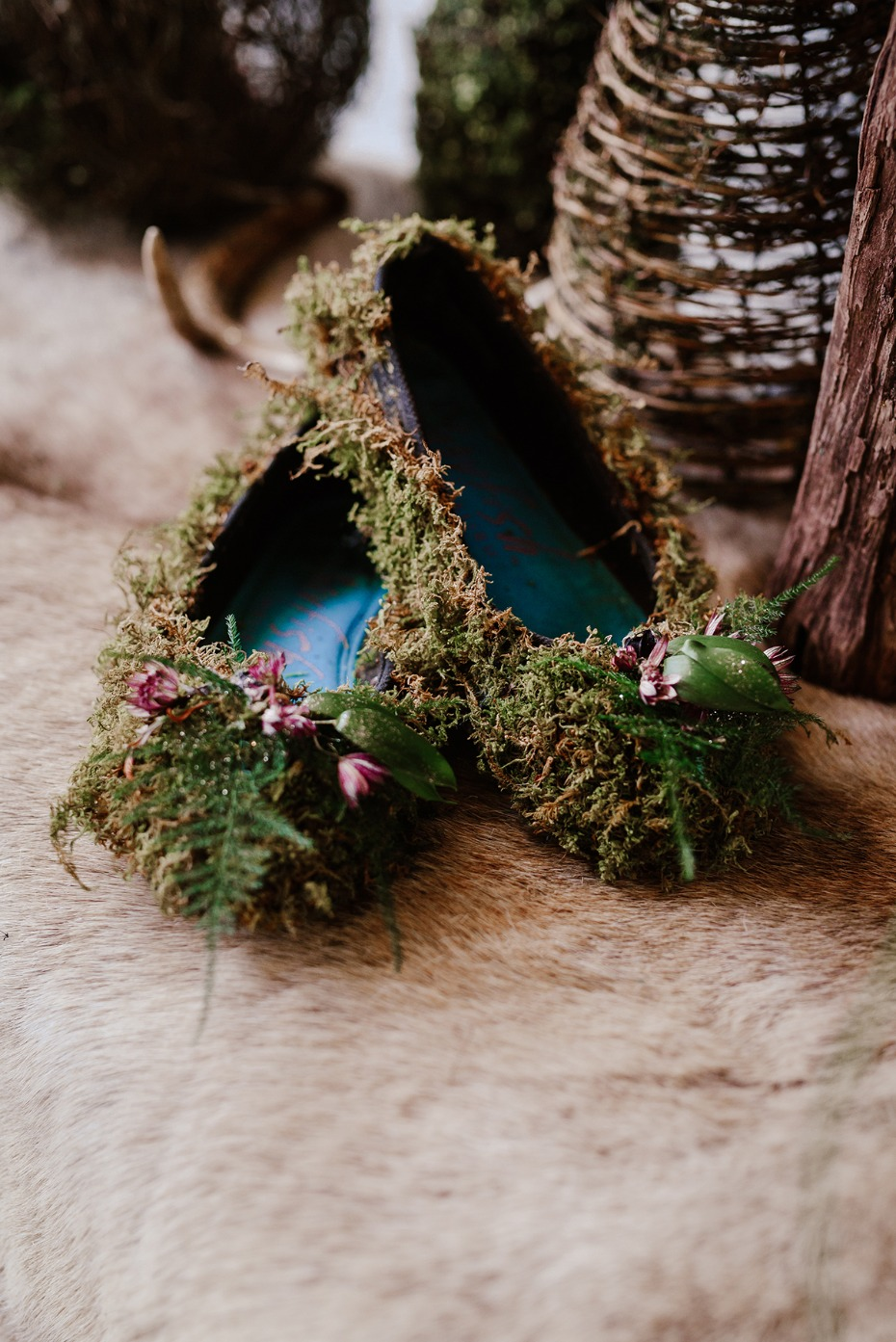 moss covered wedding flats