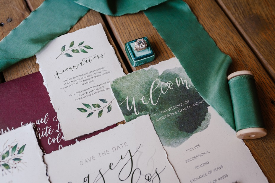 burgundy and forest green wedding stationery