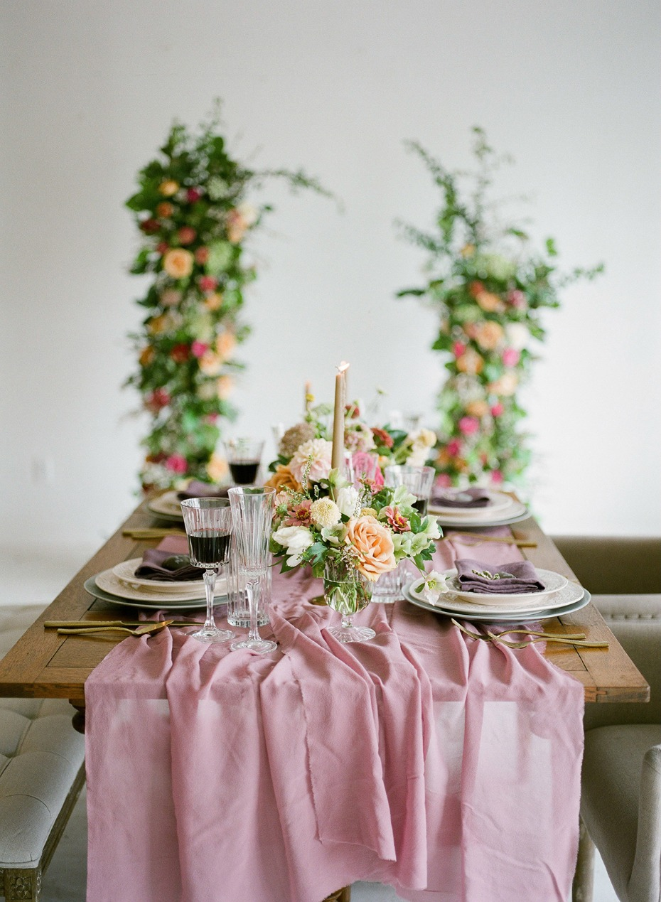 romantic floral forward wedding decor