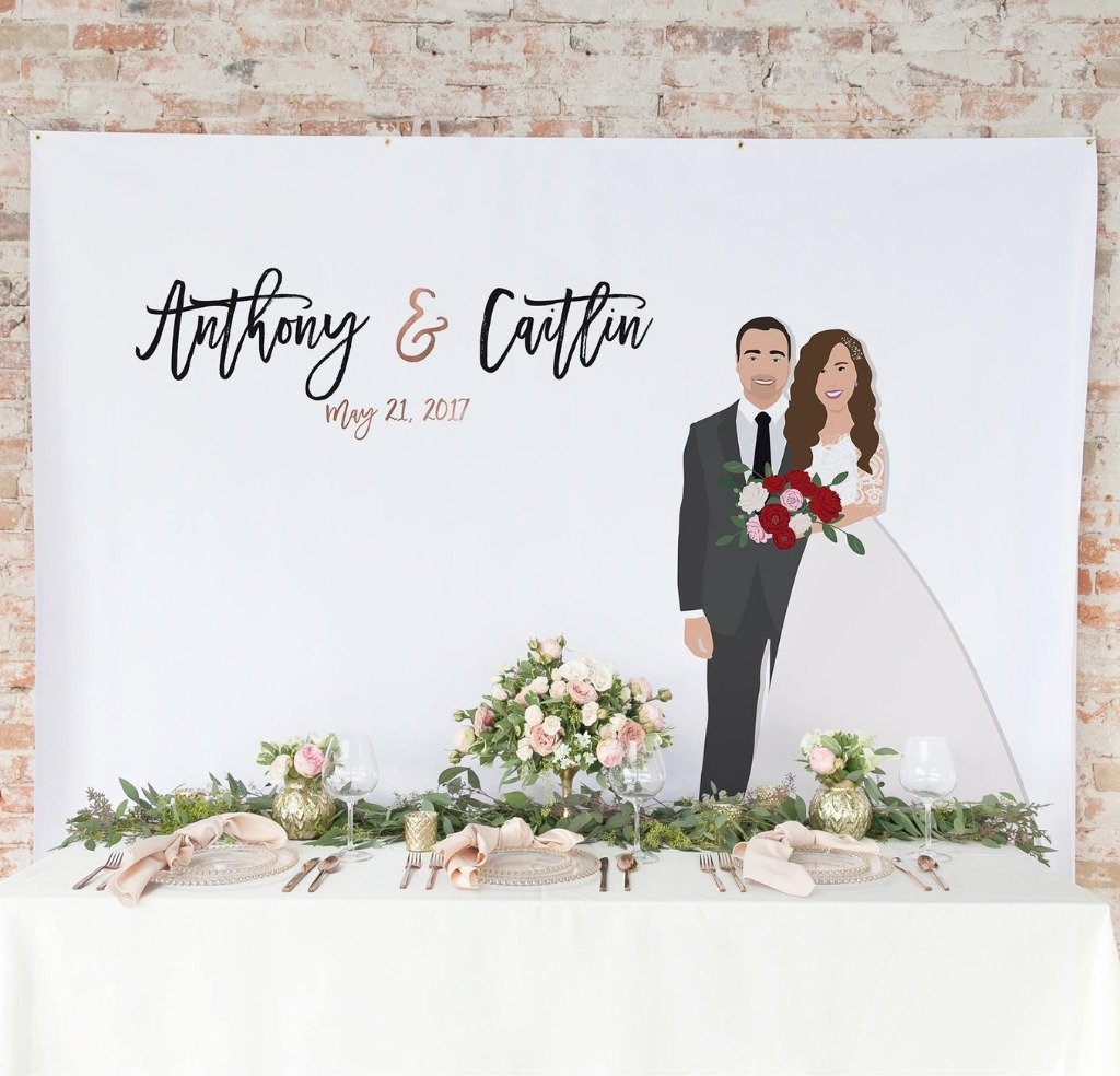 If you have space for a backdrop at your reception space, think of putting your custom couple portrait on one!! Miss Design Berry can