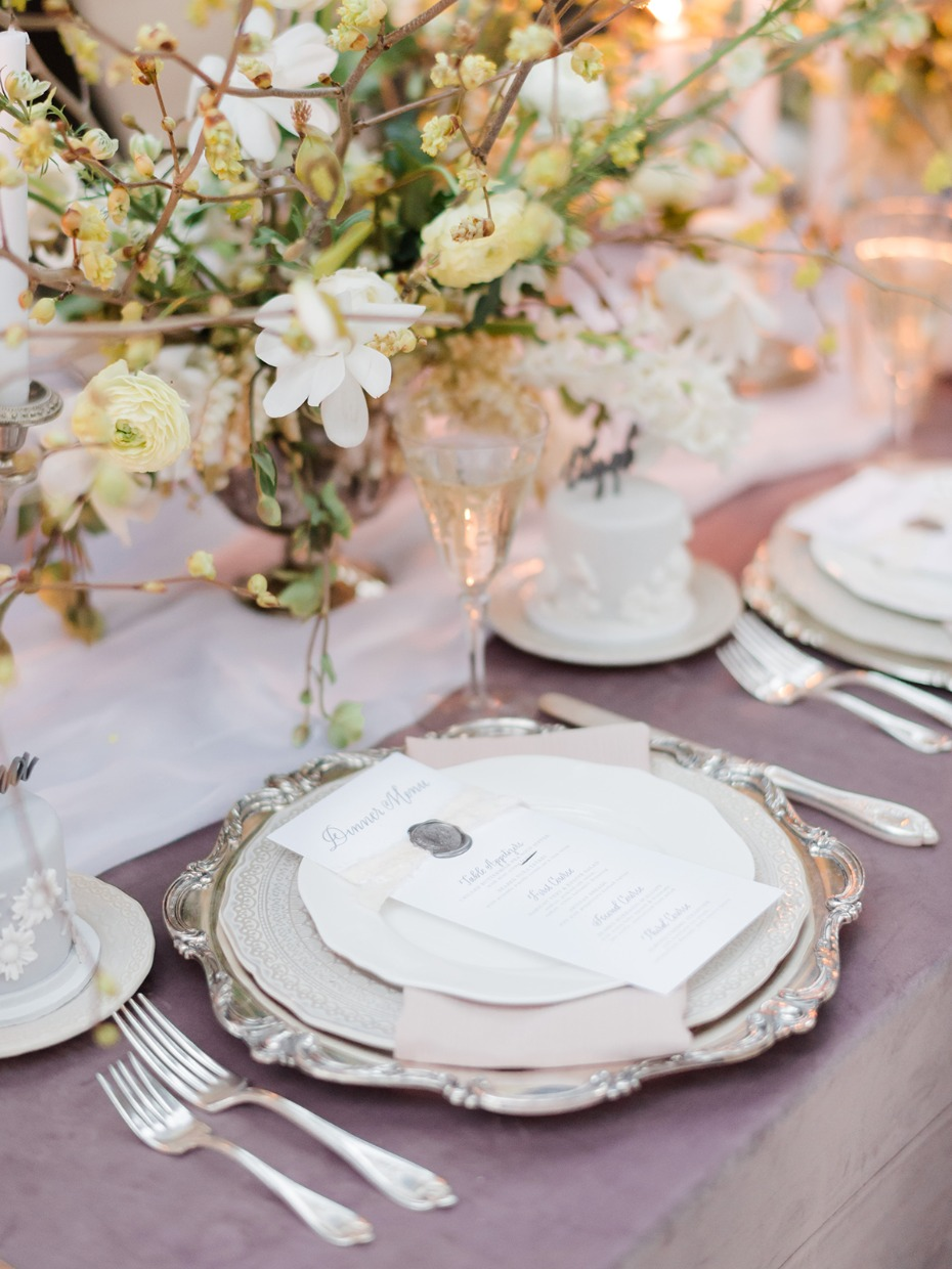 regal silver and dusty purple place setting