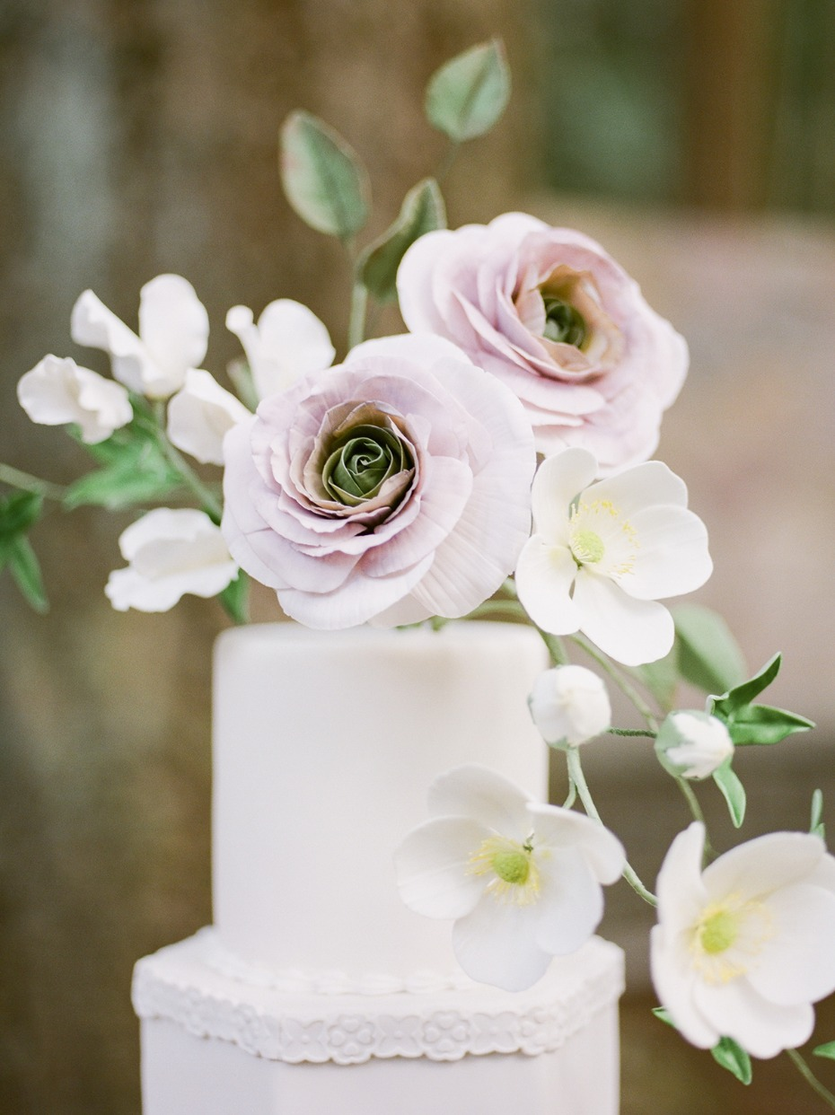 sugar flower topped wedding cake