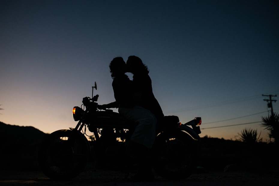 bride groom and motorcycle sunset photo
