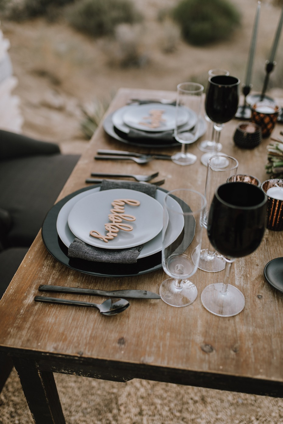black and grey wedding place setting