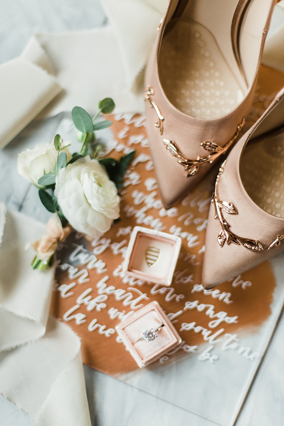A White And Rose Gold Wedding With A Sweet Theme