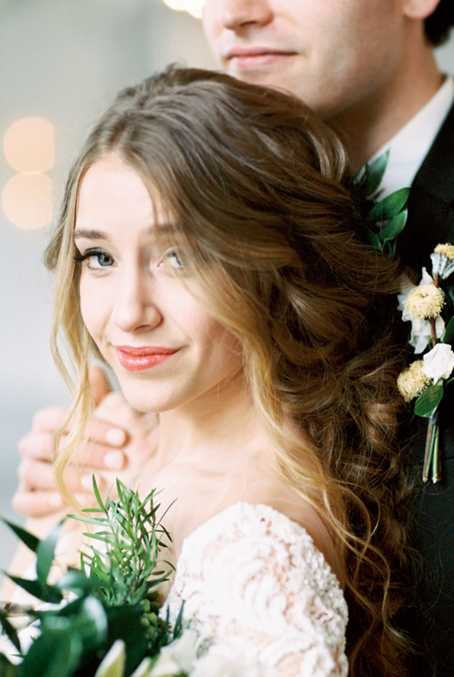 romantic long hair wedding idea