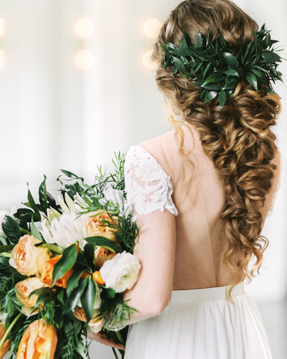 romantic long hair style for your wedding