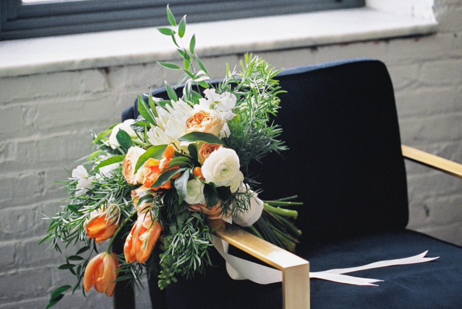 orange and white wedding bouquet