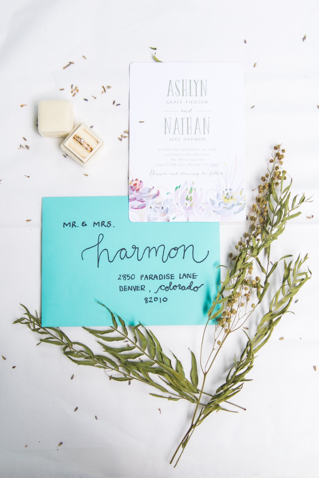 Top off your colorful custom look with a brightly colored envelope and hand-written calligraphy detail. Super cute!