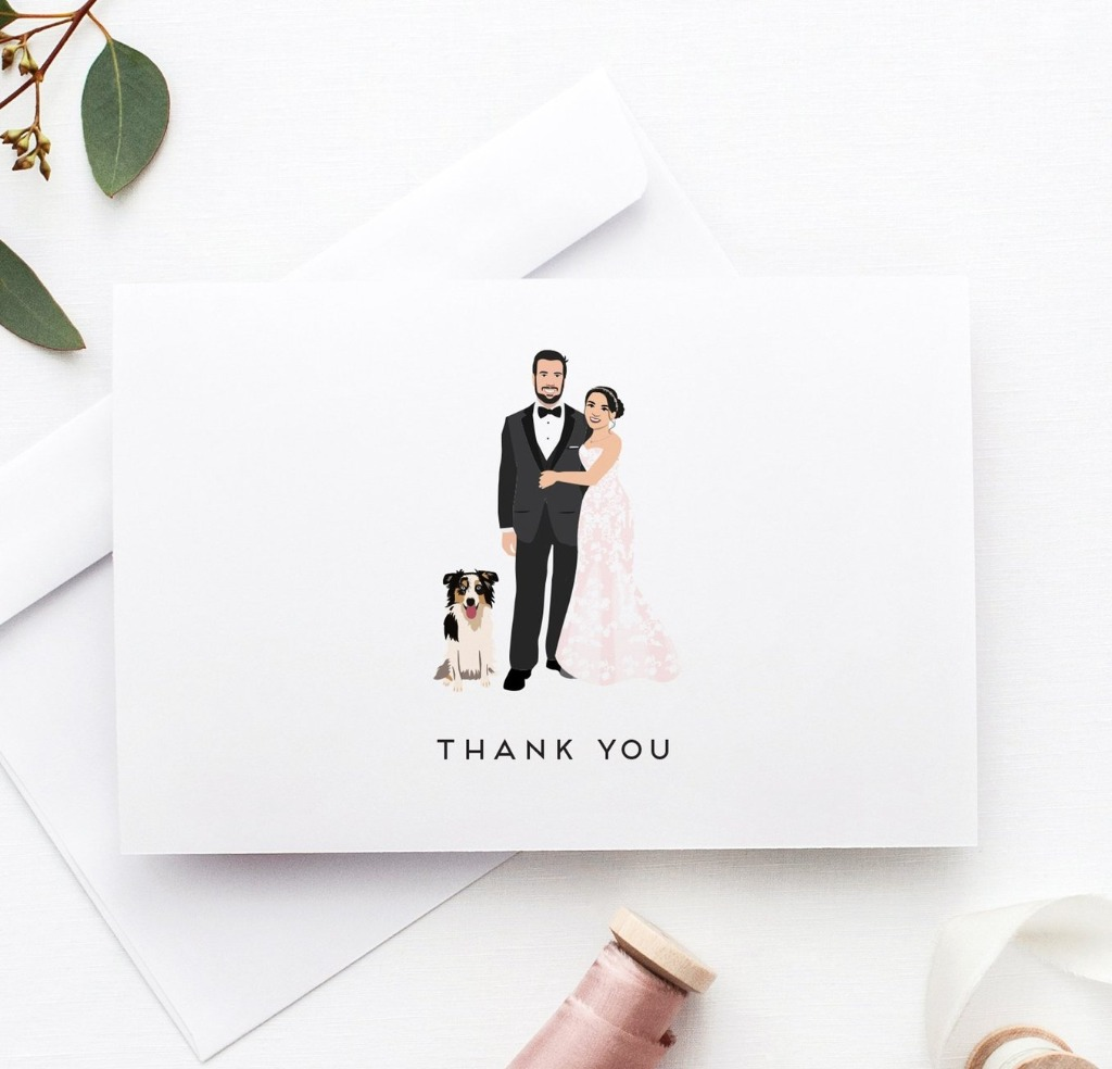 Thank You Cards are super important for after your big day, so why not make them unique? Your custom couple portrait on the front will