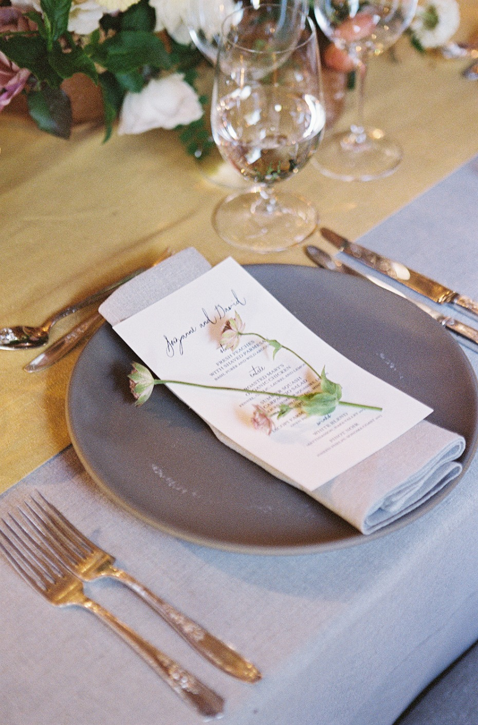 Simple place setting with flower