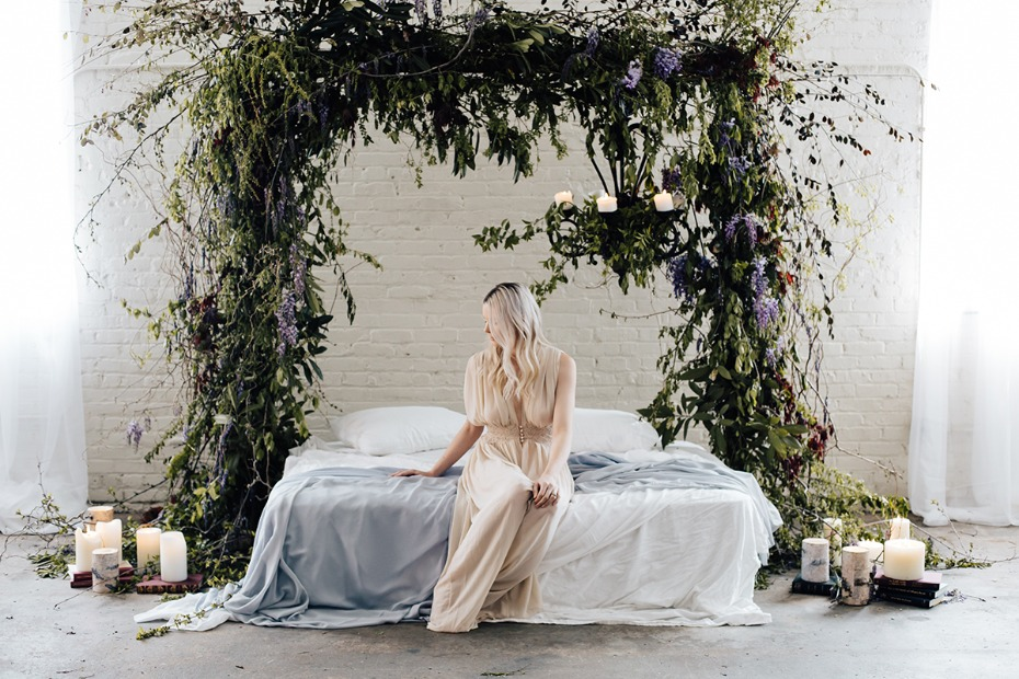 romantic secret garden style boudoir shoot