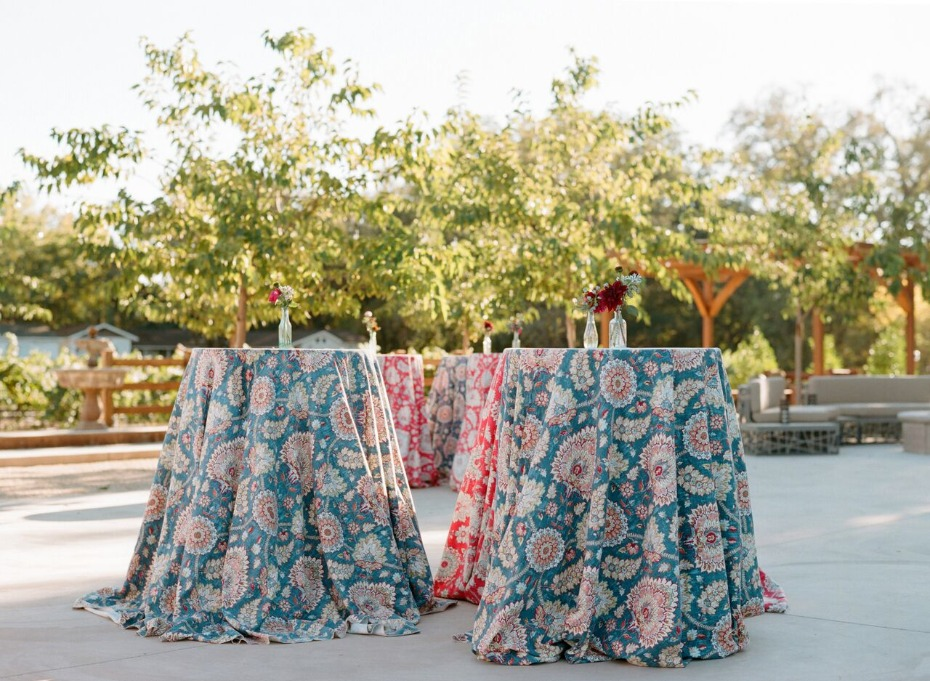 paisley linen cocktail tables