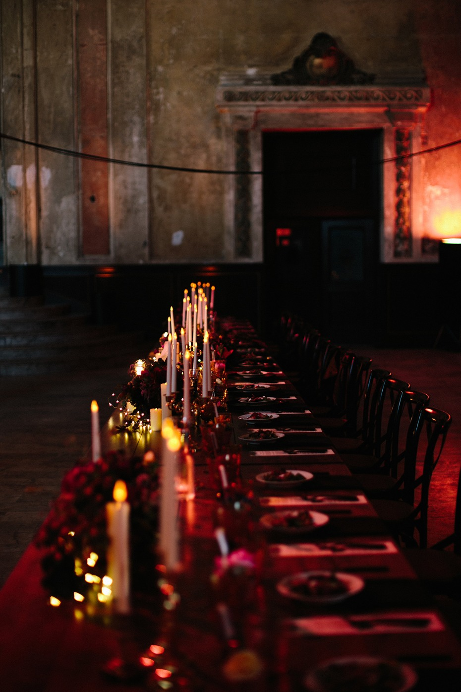 Candle lit head table