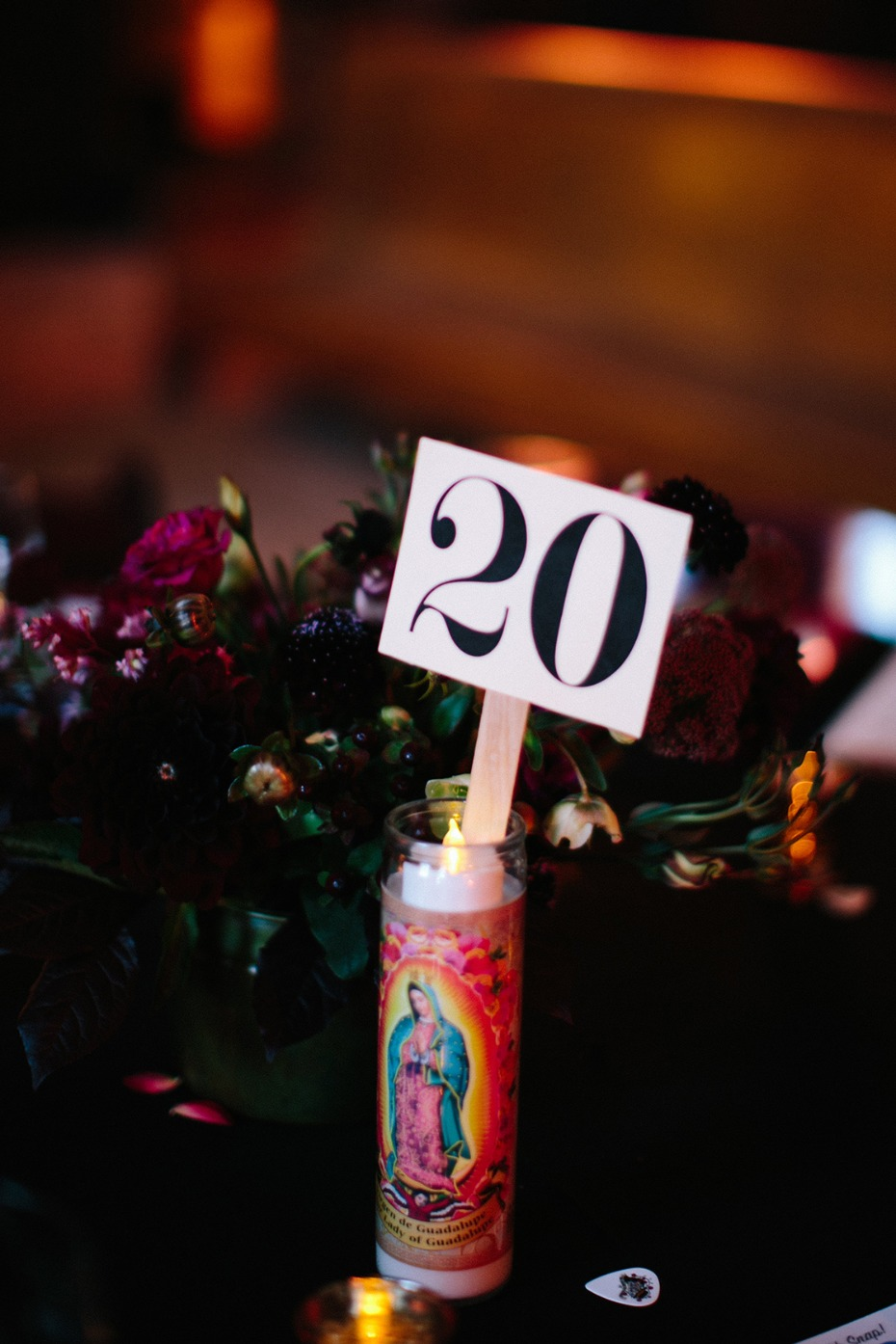 Catholic candle table number idea