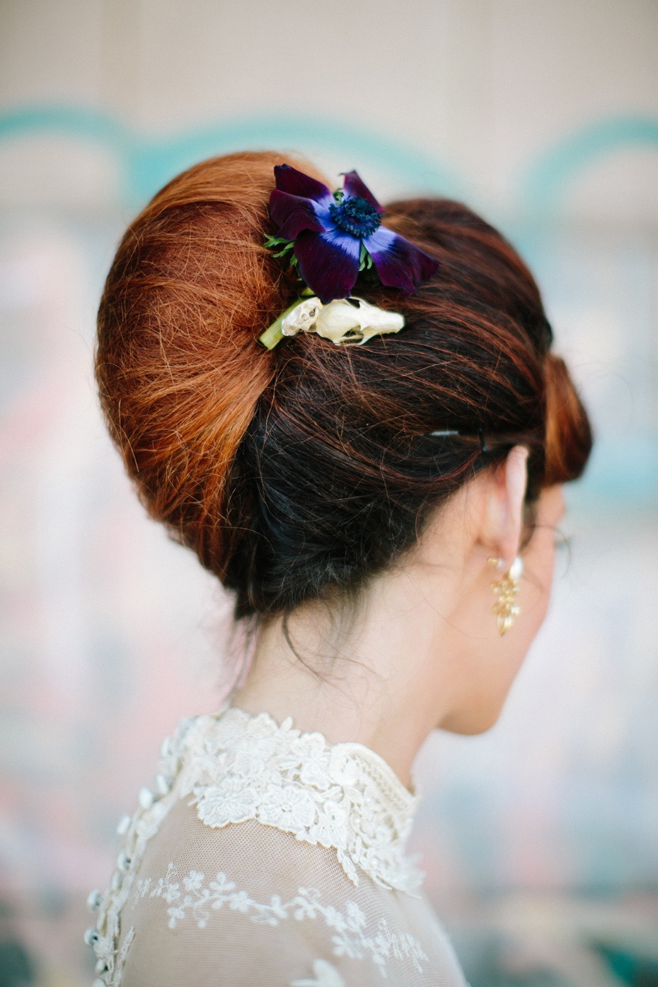 Skull and flower hair accessory for the bride