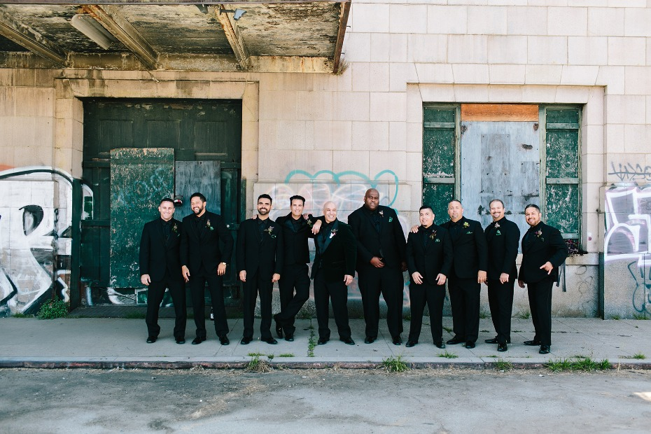 Groomsmen in all black
