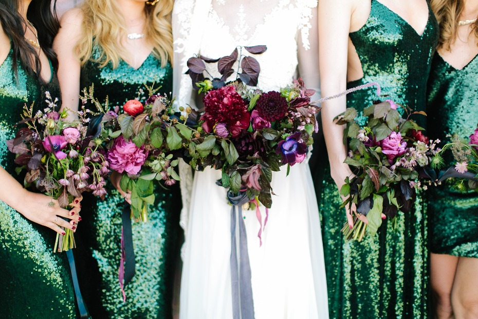 Jewel tone lorals and emerald green dresses