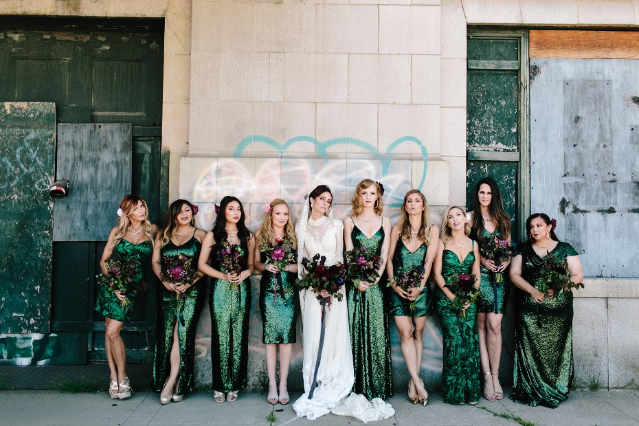 Sparkly emerald green bridesmaid dresses