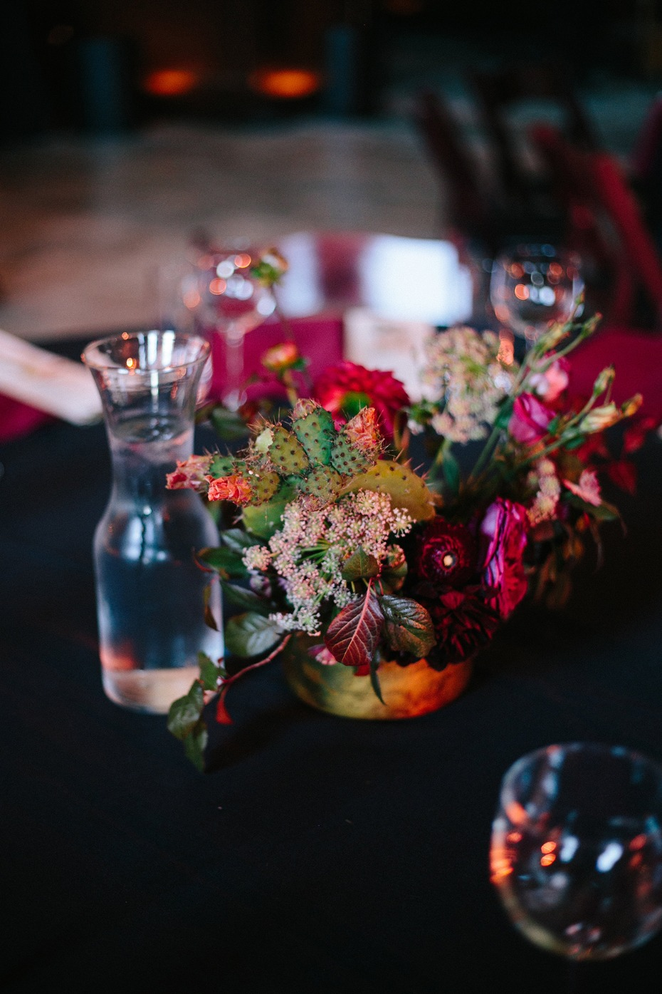 Cactus centerpiece with florals
