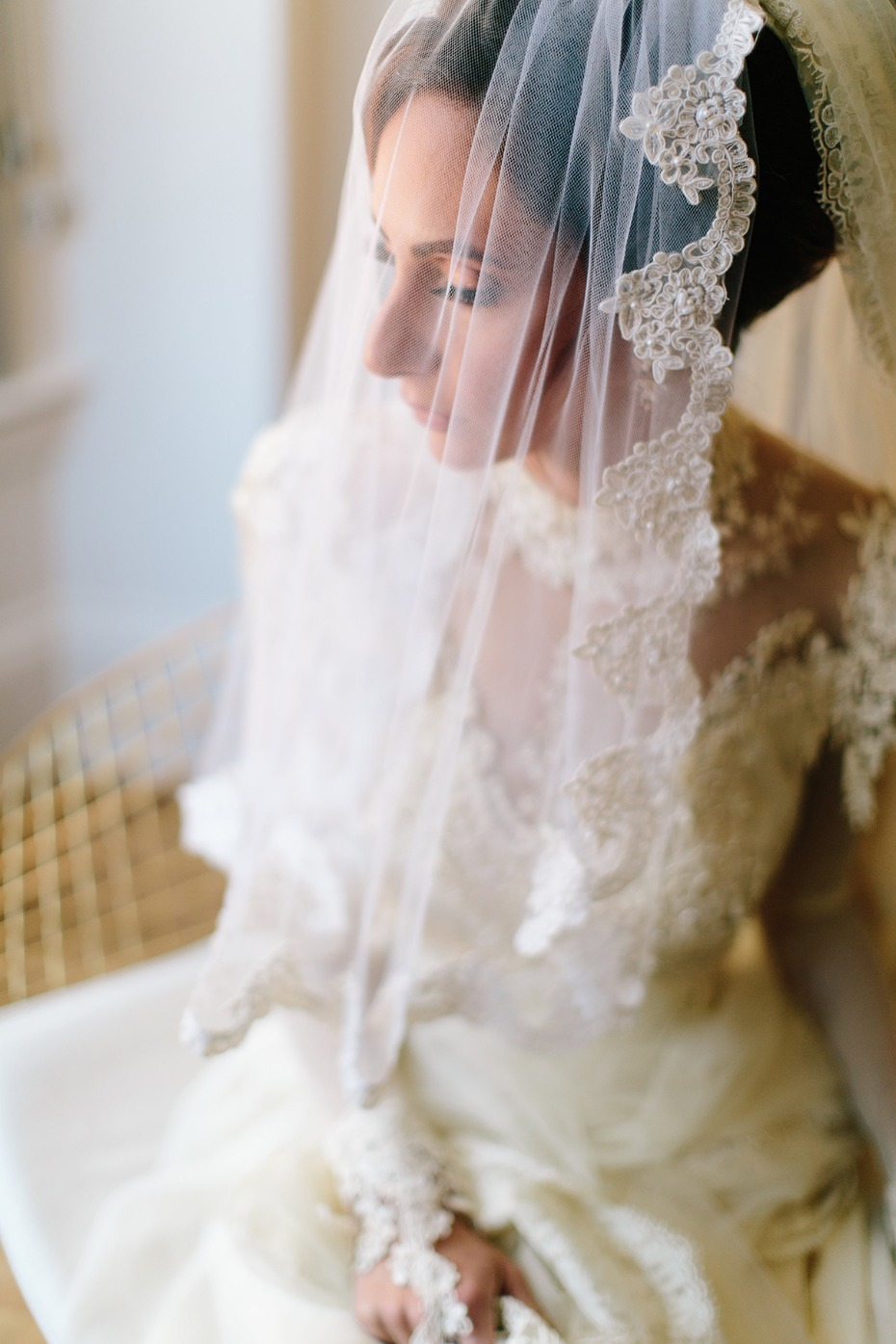 Dramatic vintage lace gown and veil