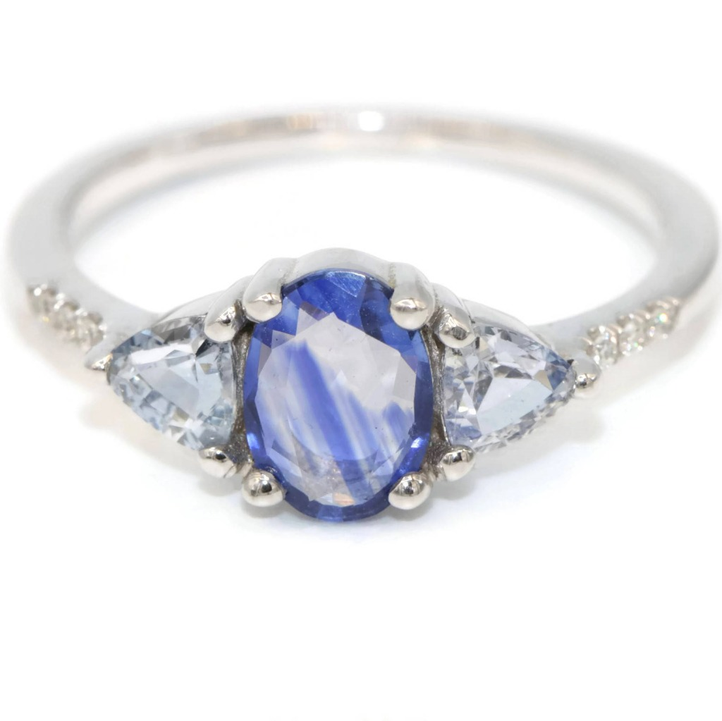 When comfort meets Something Blue. Extra comfortable low profile amazing modern 3 stone ring by Irina.