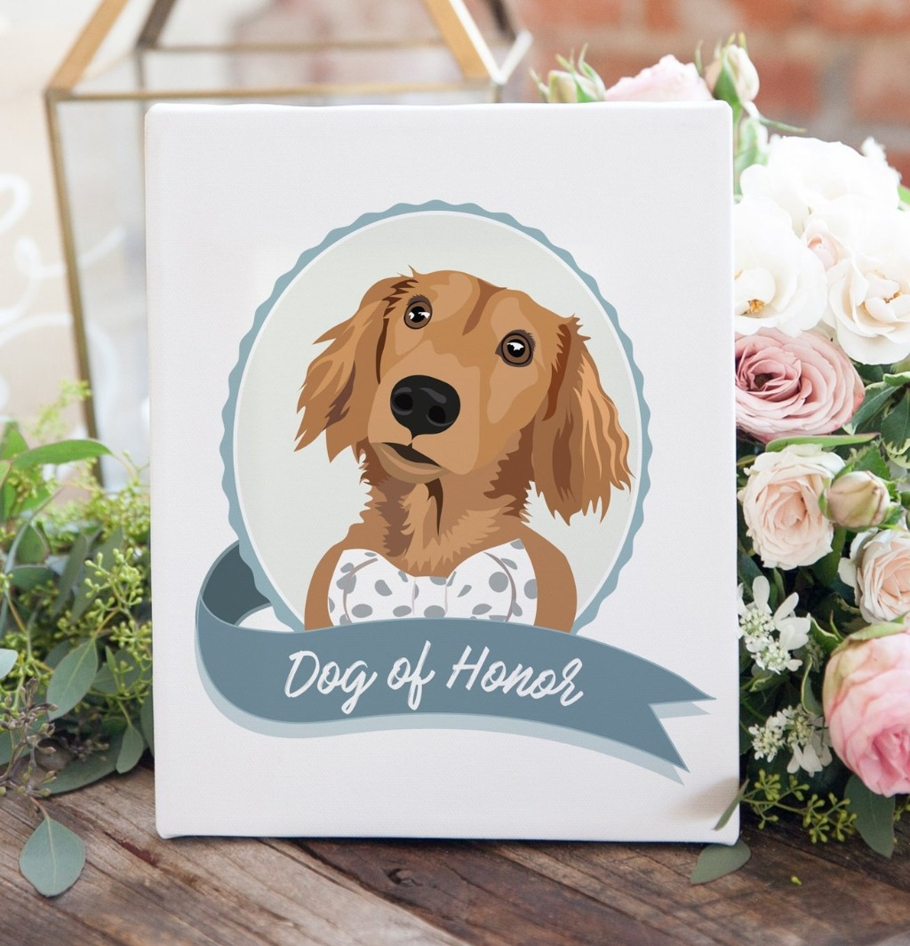 Do you wish your furry best friend could be with you on your big day? Well, pick up this amazing Dog of Honor Sign from Miss Design