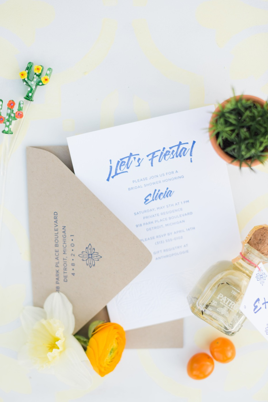 Lets Fiesta bridal shower invitation