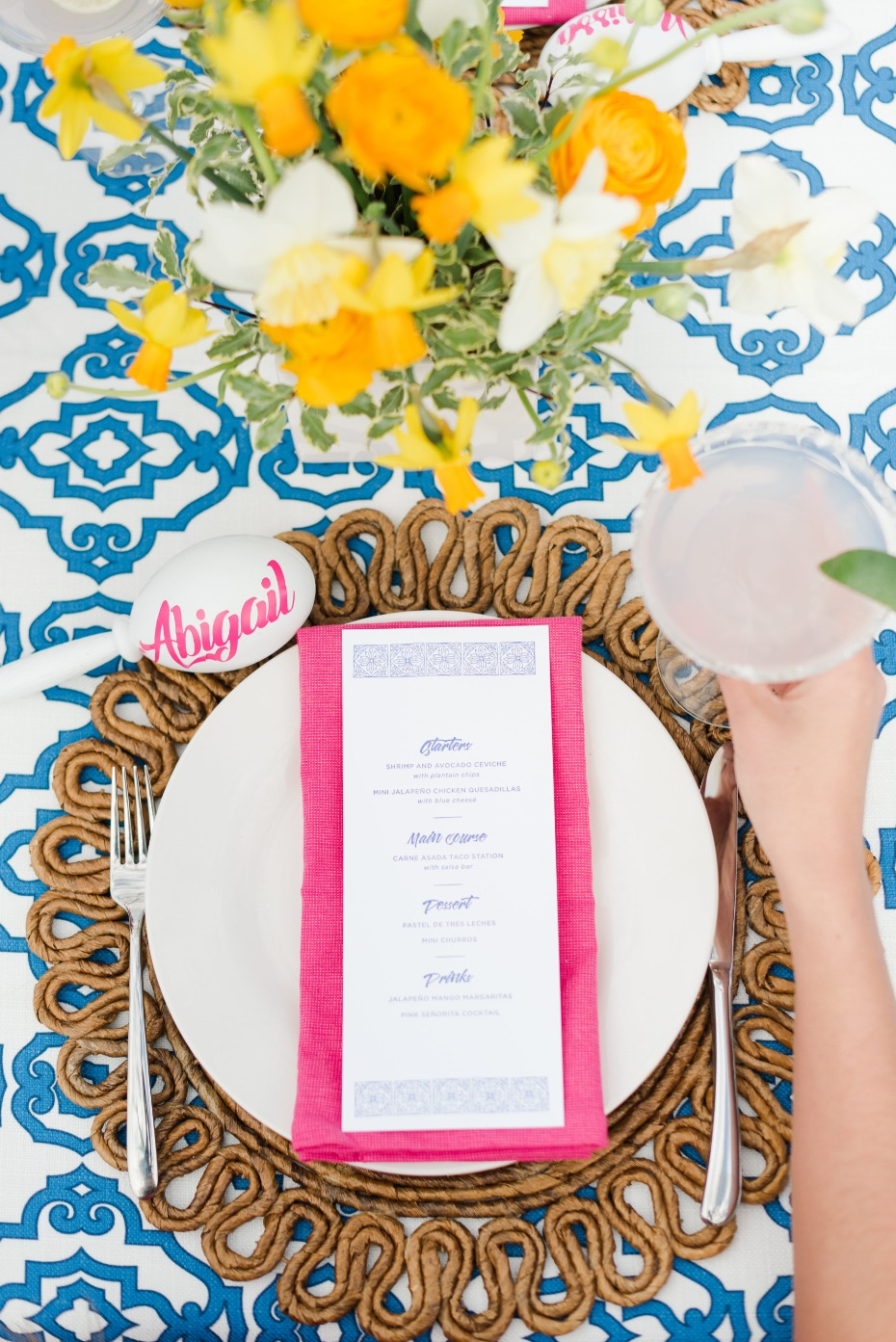 bright and exciting fiesta themed table setting