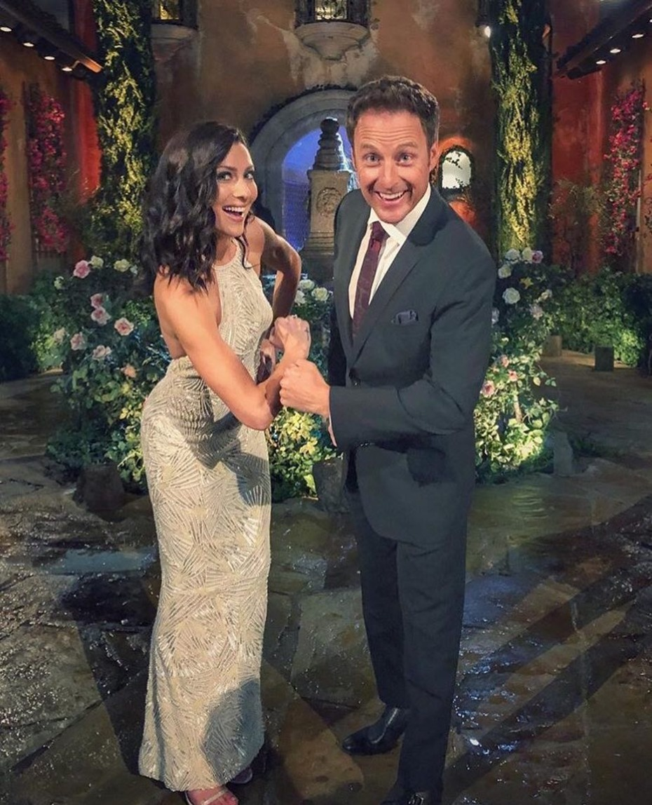 The Bachelorette Becca Kufrin and Chris Harrison