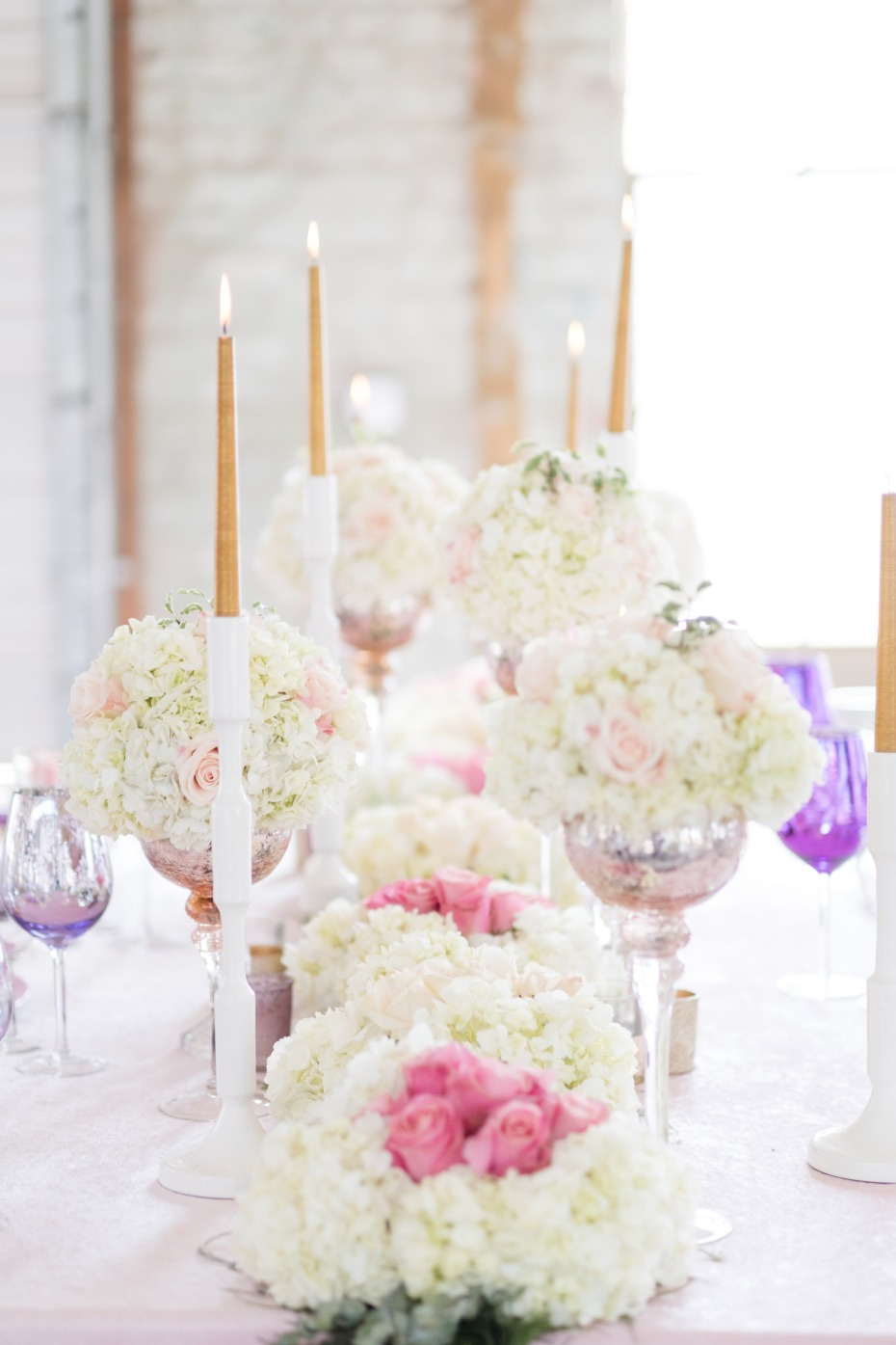 white pink and purple centerpiece