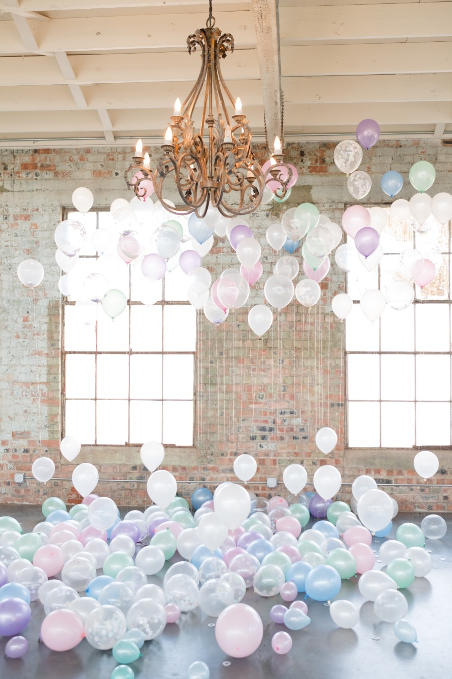 pastel wedding balloons