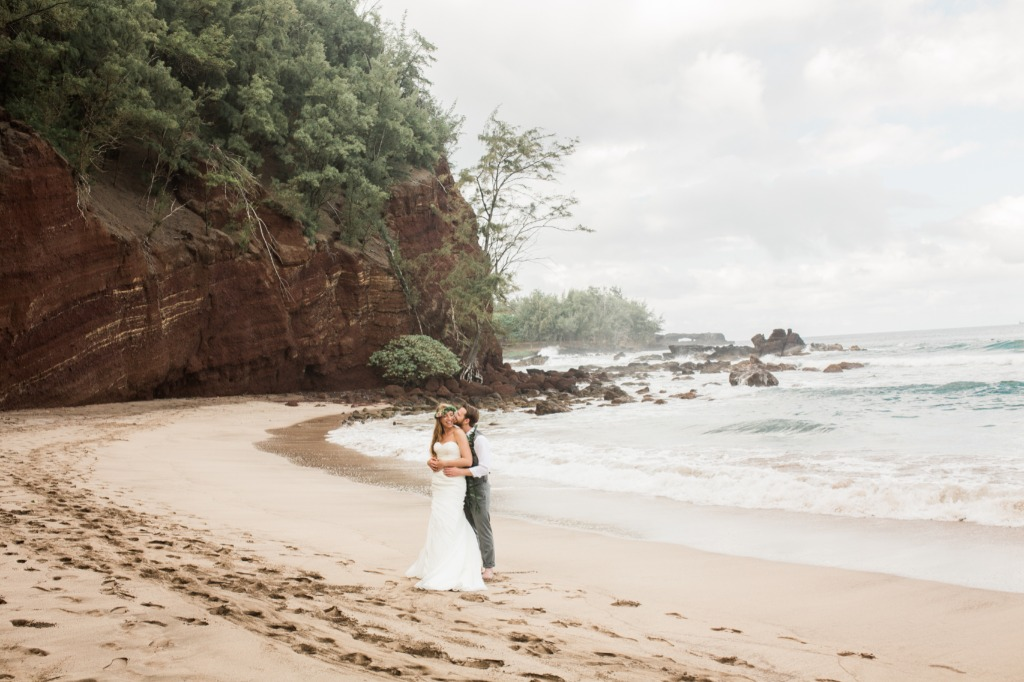 Getting married on The Road to Hana in Maui, Hawaii was this couples dream!