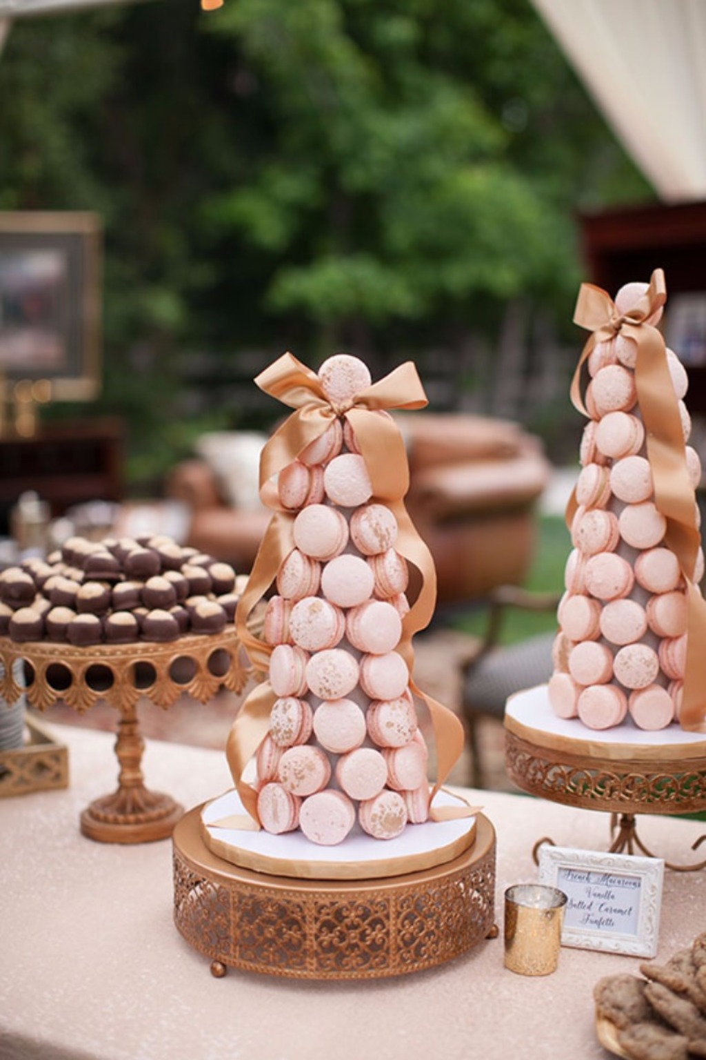 Macaron Towers on Opulent Treasures Antique Gold Wedding Cake Stands